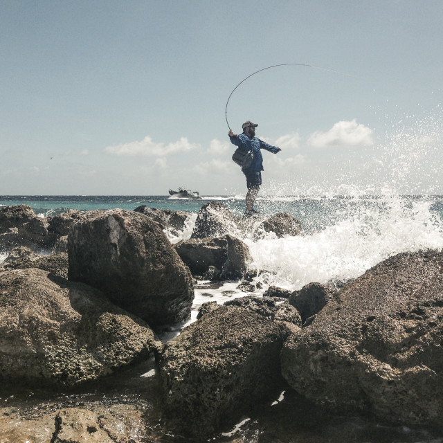 """Fly fishing, Curacao"" stock image"