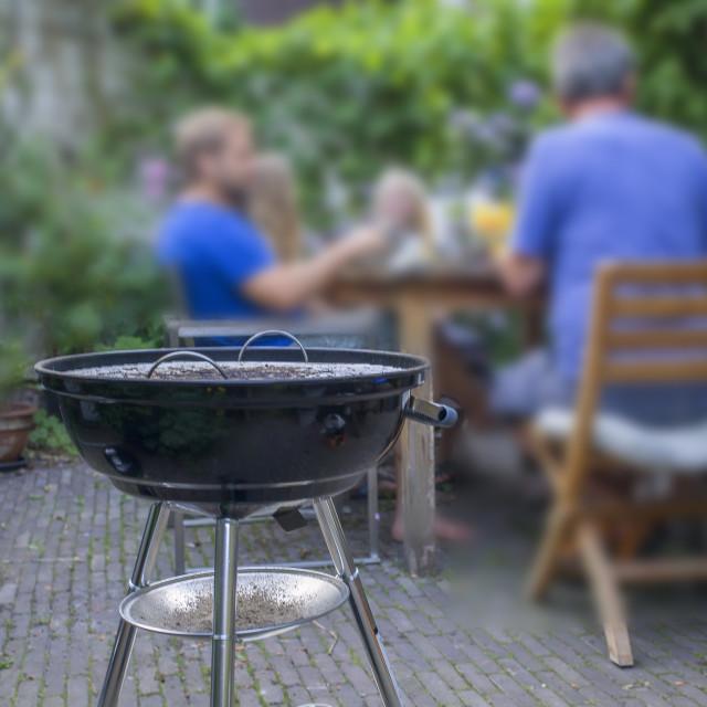 """Barbecue dinner in garden"" stock image"
