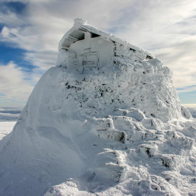 """Ben Nevis Summit Shelter in Winter"" stock image"