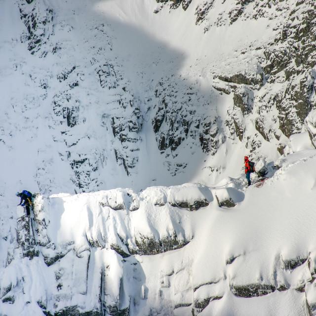 """Climbers on Tower Ridge, Ben Nevis in Winter"" stock image"
