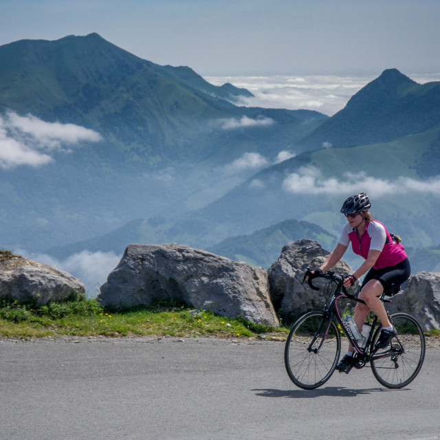 """Woman road cycling pyrenees"" stock image"