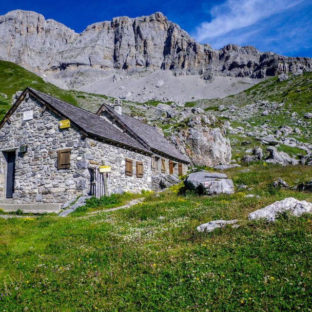"""Mountain Hut Pyrenees"" stock image"