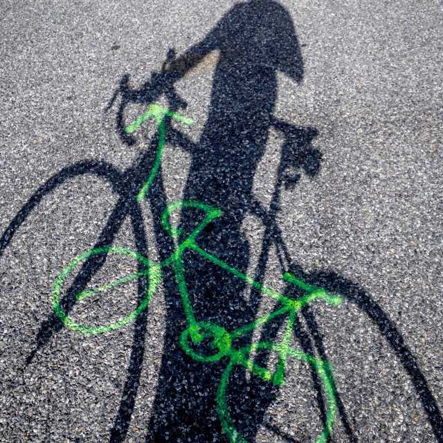 """""""Cycling shadow"""" stock image"""