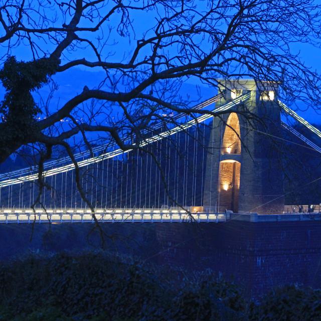 """Clifton Suspension Bridge Blue Dusk #1"" stock image"