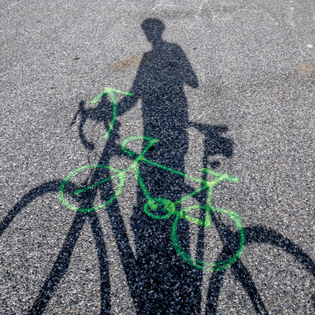 """Cycling shadow"" stock image"