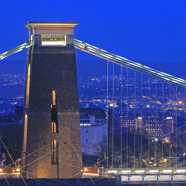"""Clifton Suspension Bridge Blue Dusk #2"" stock image"