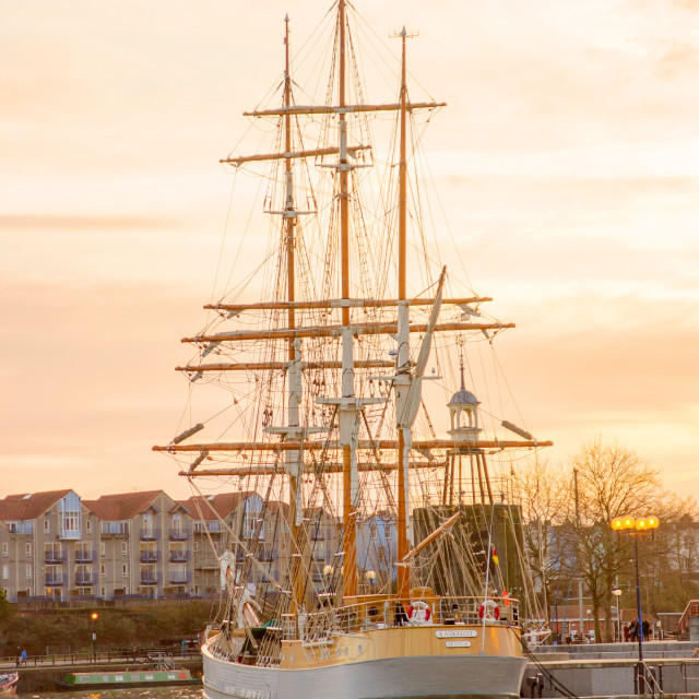 """Sunset on the Rigging"" stock image"