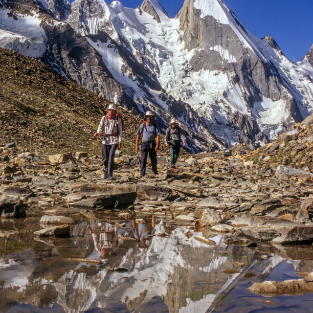 """Laila Peak, Pakistan with Trekkers"" stock image"