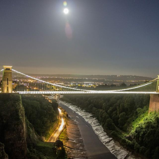 """Full Moon Over Clifton Bridge"" stock image"