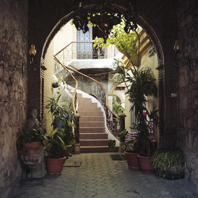 """Hidden courtyard, Guatemala"" stock image"