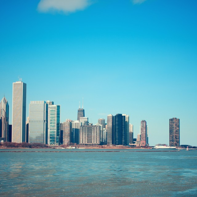 """Chicago - Water and Skyscrapers"" stock image"