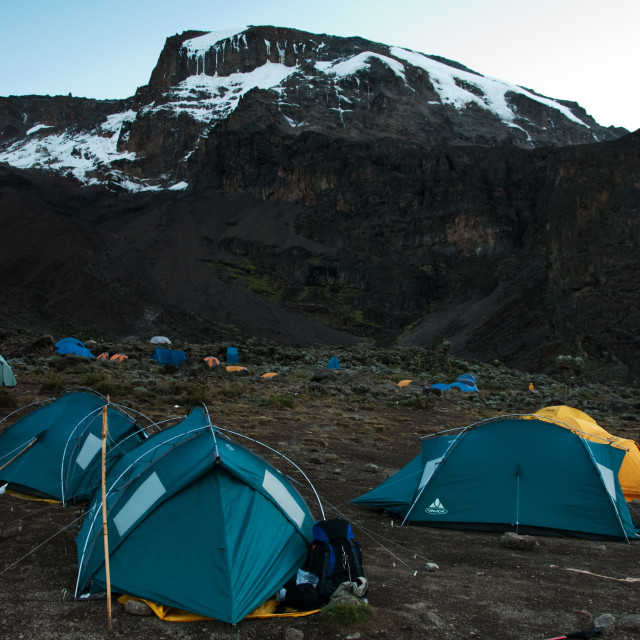 """Campsite on the slopes of Mt Kilimanjaro"" stock image"