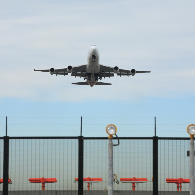 """Jumbo jet take off"" stock image"
