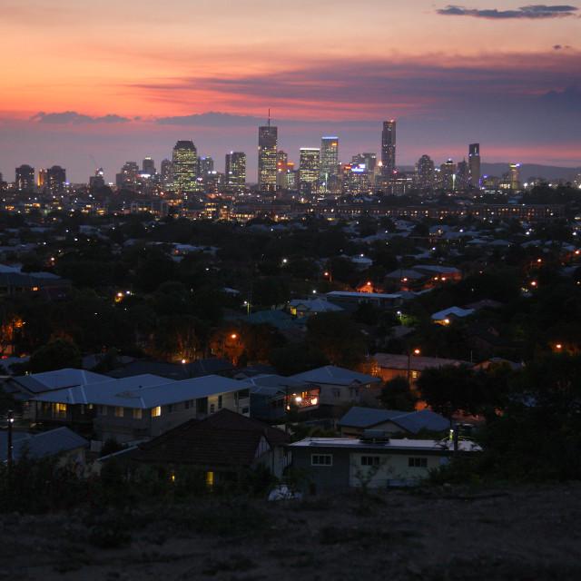 """Brisbane suburbs at sunset"" stock image"