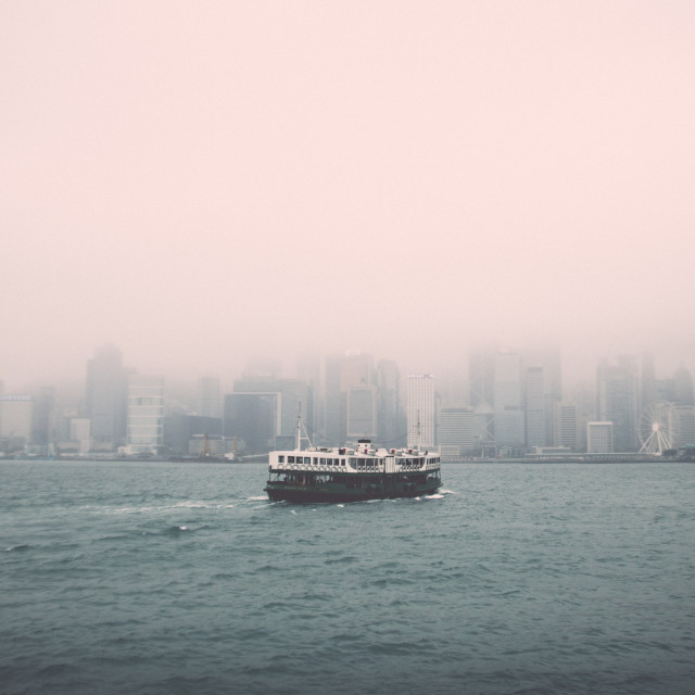 """Hong Kong Ferry in Fog"" stock image"