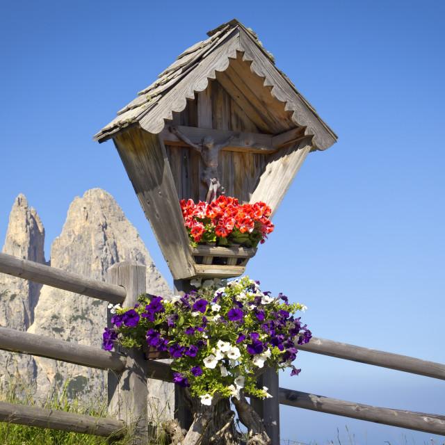 """""""Wooden shrine (crucifix)"""" stock image"""