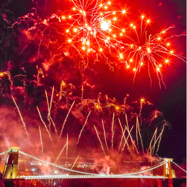 """Clifton Suspension Bridge 150th Anniversary Fireworks #2"" stock image"