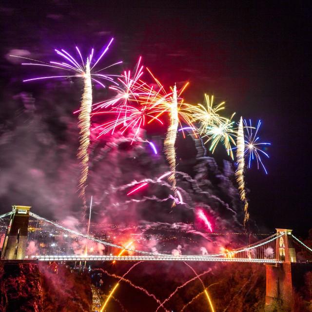 """Clifton Suspension Bridge 150th Anniversary Fireworks #8"" stock image"