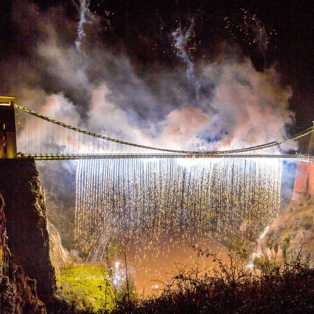"""Clifton Suspension Bridge 150th Anniversary Fireworks #4"" stock image"