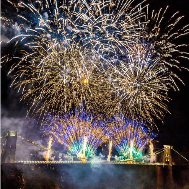 """Clifton Suspension Bridge 150th Anniversary Fireworks #5"" stock image"