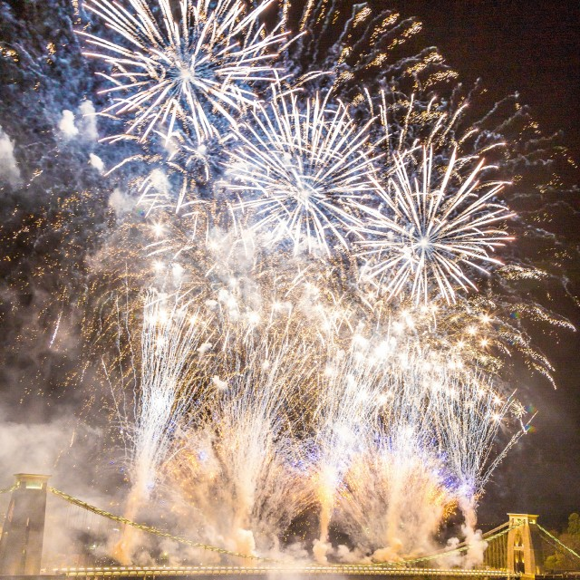 """Clifton Suspension Bridge 150th Anniversary Fireworks #6"" stock image"