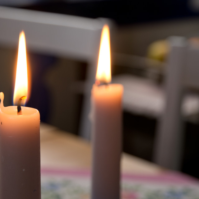 """Two candle lights"" stock image"