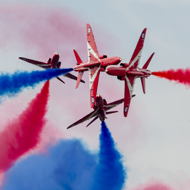"""Red Arrows detonator cross over"" stock image"