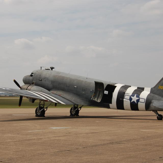 """""""D-Day stripes on weathered C-47A"""" stock image"""
