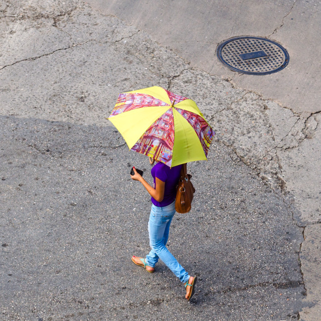 """Girl with an umbrella"" stock image"