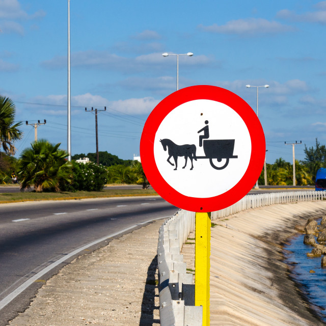 """Horse Carriage Highway Ban Sign"" stock image"
