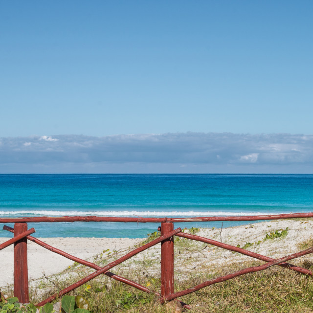 """""""Ocean behind the fence"""" stock image"""