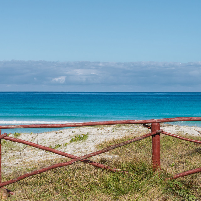 """Ocean and fence panorama"" stock image"
