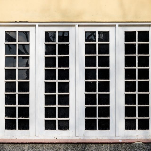 """Large wooden window"" stock image"