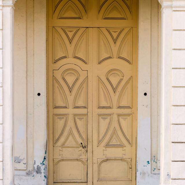 """""""Old yellow door"""" stock image"""