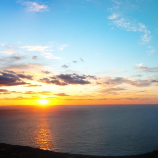 """Sunset Panorama off the South East Coast of Malta"" stock image"