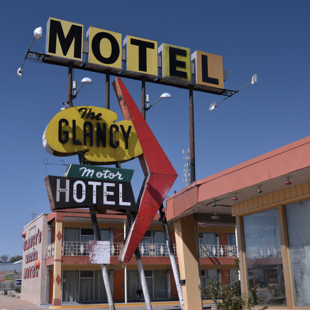 """""""The Glancy motel on Route 66"""" stock image"""