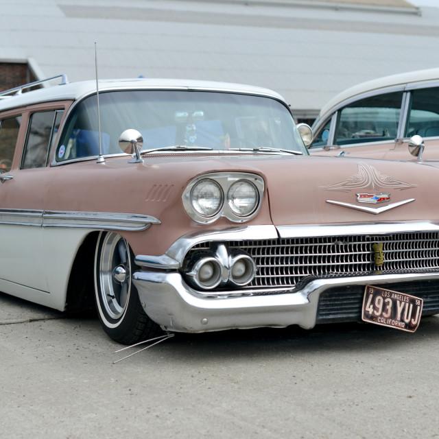 """1958 Chevy Brookwood wagon"" stock image"