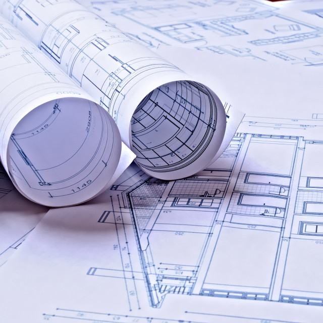 """Architectural plans of a dwelling"" stock image"