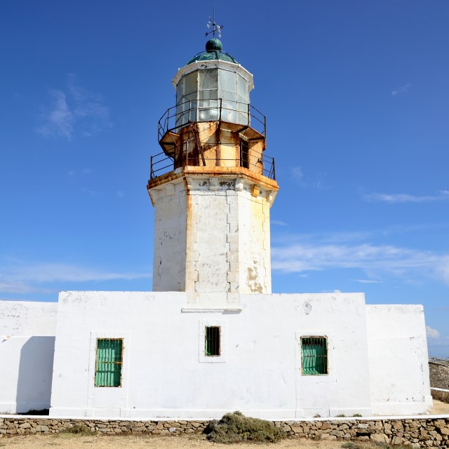 """Lighthouse in Mykonos"" stock image"