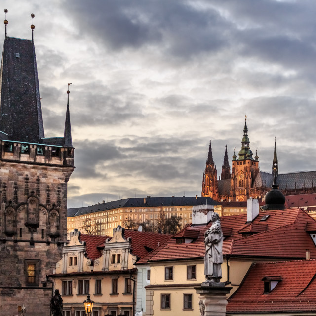 """Charles Bridge with Prague Castle on the hill"" stock image"