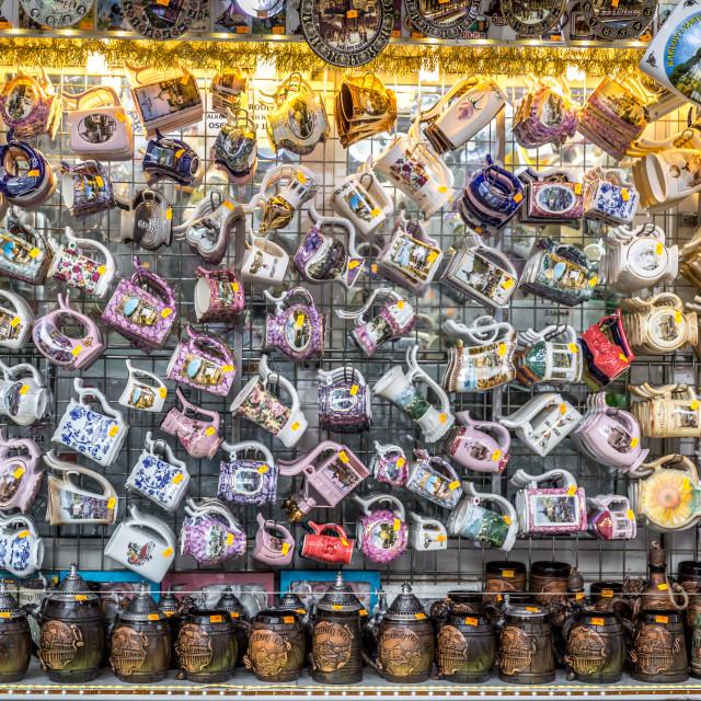 """Mugs at Karlovy Vary, Czech Republic"" stock image"