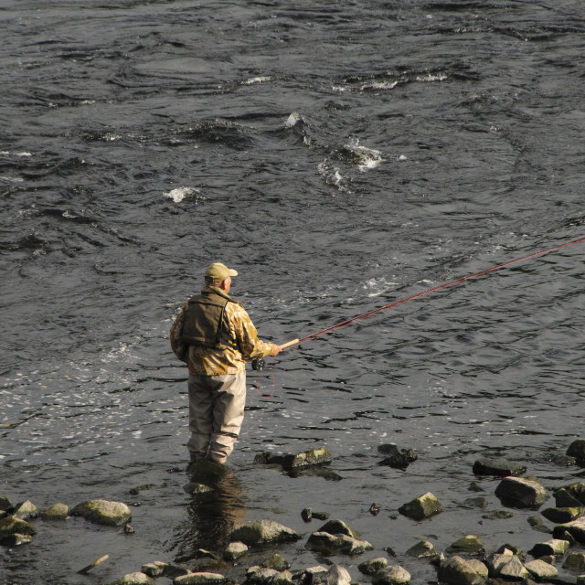 """""""Fly fishing on the River Tay"""" stock image"""