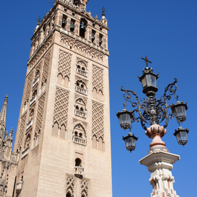 """""""La Giralda Cathedral Tower in Seville"""" stock image"""