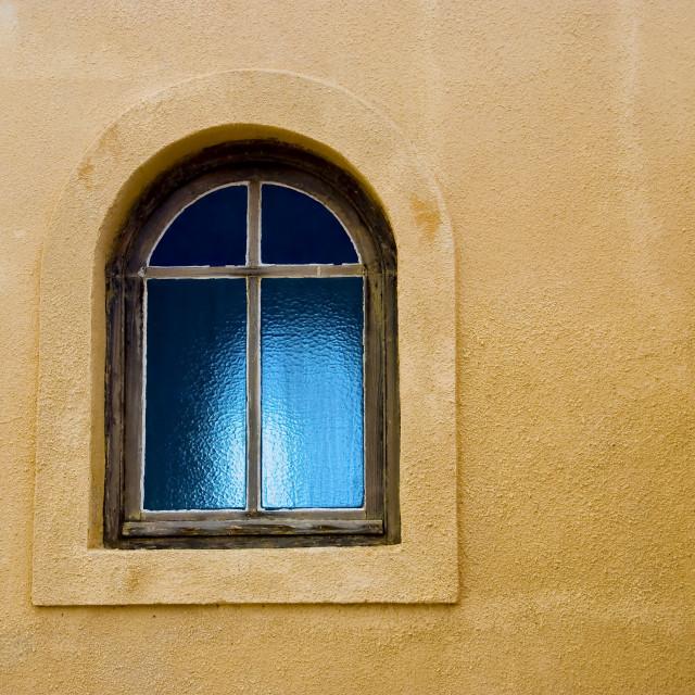 """Glass window glowing blue"" stock image"
