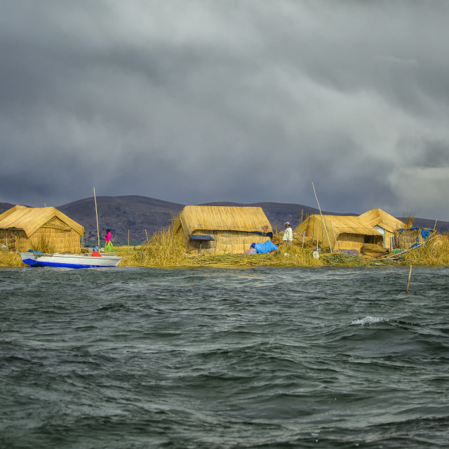 """The floating and tourist Islands of lake Titicaca Puno Peru Sout"" stock image"