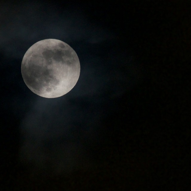 """""""Partly cloudy, full moon"""" stock image"""