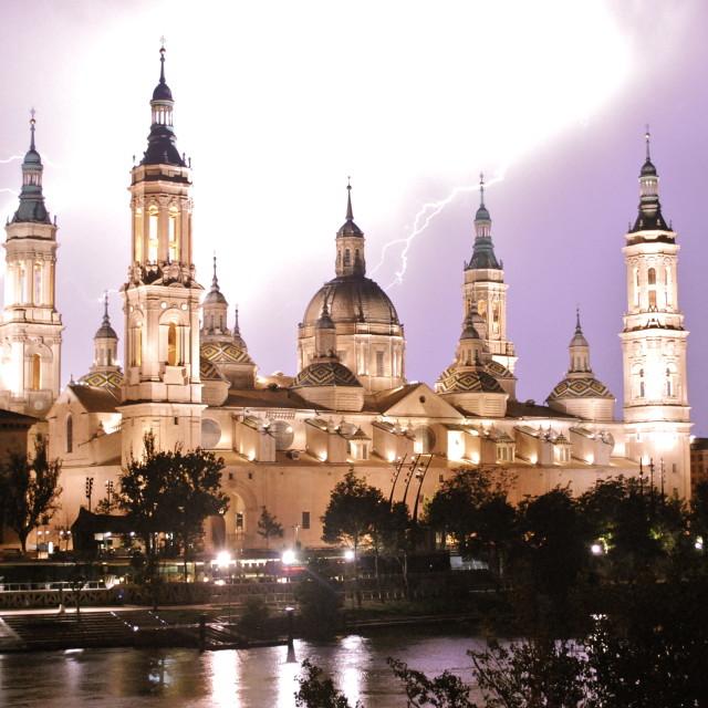 """""""Zaragoza Lightning Storm"""" stock image"""