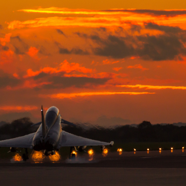 """RAF Coningsby Typhoon sunset"" stock image"