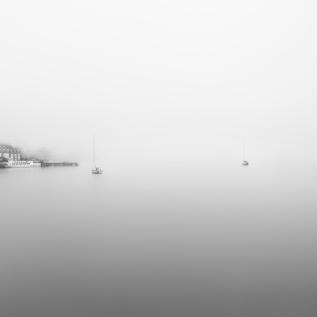 """Ambleside - Foggy Lake"" stock image"