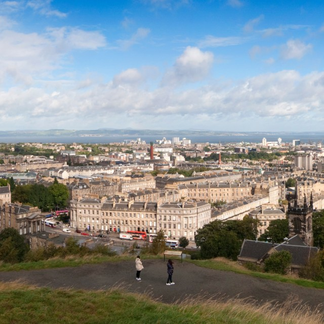 """Calton Hill Panorama Edinburgh Scotland UK"" stock image"